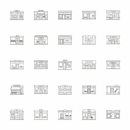 Modern fast food restaurant and shop buildings, store facades, boutiques with pharmacy outline icons. Exterior market and restaurant, illustration of exterior facade store building