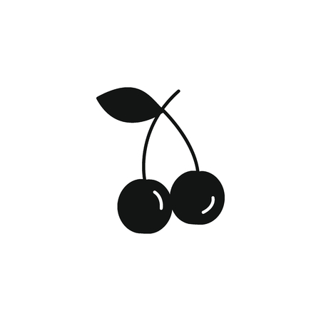 Cherry icon in black silhouette style. Vector illustration with Cherry isolated on white background. black silhouette fruit object for web Illustration