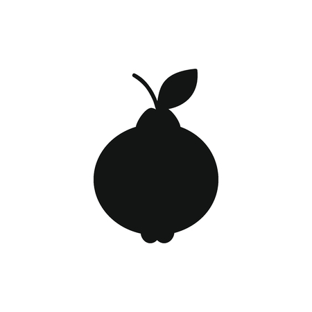 Lemon icon in black silhouette style. Vector illustration with Lemon isolated on white background. black silhouette fruit object for web 向量圖像