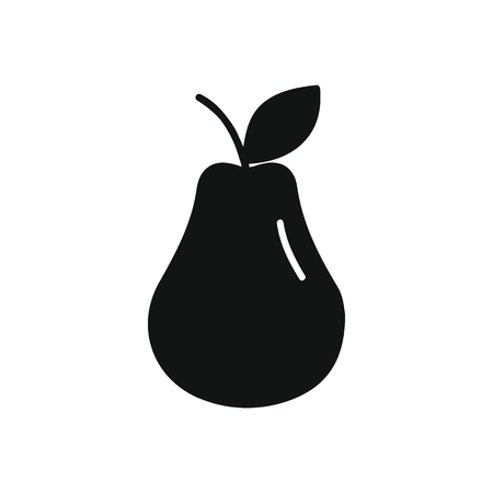 Pear icon in black silhouette style. Vector illustration with Pear isolated on white background. Vettoriali
