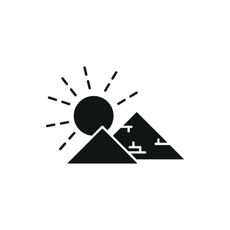 Egyptian pyramid icon in silhouette style. Egypt pyramid with sun object vector illustration isolated on white background. Element of Egyptian culture and tradition Illustration