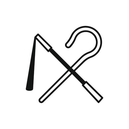 Egyptische staaf en zweep pictogram in silhouetstijl. De staaf van Egypte en ranselt objecten vectordieillustratie op witte achtergrond wordt geïsoleerd. Element van Egyptische cultuur en traditie Vector Illustratie