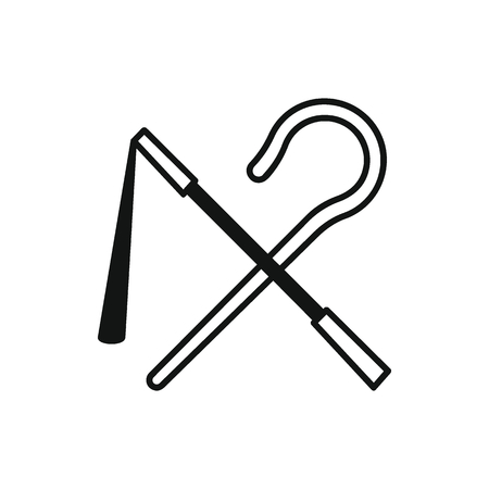 Egyptian rod and whip icon in silhouette style. Egypt rod and whip object vector illustration isolated on white background. Element of Egyptian culture and tradition