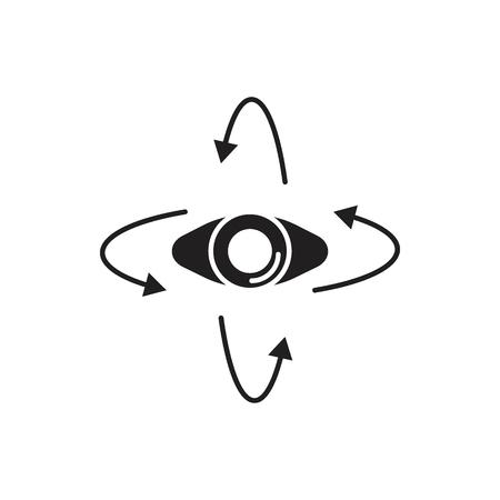 Virtual reality eye black silhouette icon. Eye vector illustration on white background.