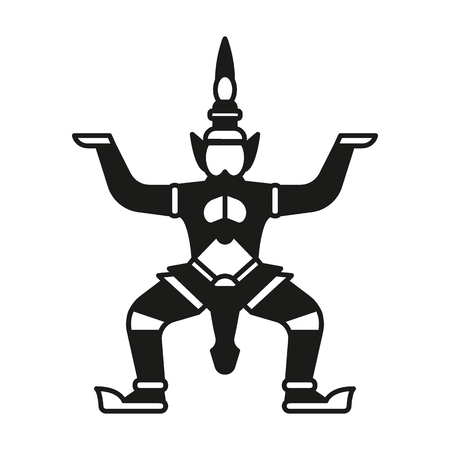 Giant statue silhouette icon. Thailand Giant statue vector illustration isolated on white background. Element Thailand culture and traditions.