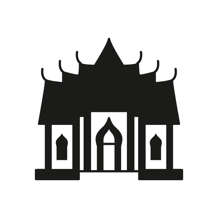 Temple silhouette icon. Thailand temple pagoda vector illustration isolated on white background. Element Thailand culture and traditions.