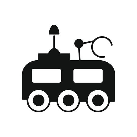 Moon vehicle icon in silhouette style. Space illustration with Moon vehicle  in white background. Element for space design. Science space object.
