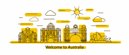 Australia panorama. Australia vector illustration in outline style with buildings and city architecture. Welcome to Australia. Vettoriali