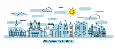 Austria panorama. Austria vector illustration in outline style with buildings and city architecture. Welcome to Austria. Vettoriali