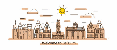 Belgium panorama. Belgium vector illustration in outline style with buildings and city architecture. Welcome to Belgium.