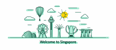 Singapore panorama. Singapore vector illustration in outline style with buildings and city architecture. Welcome to Singapore.