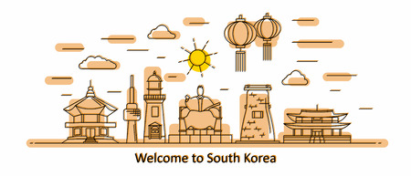Korea panorama. South Korea vector illustration in outline style with buildings and city architecture. Welcome to Korea. Ilustração