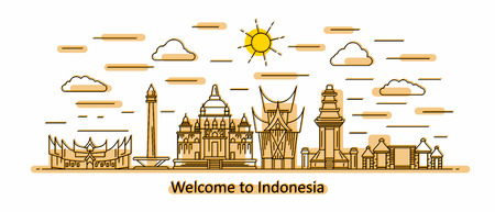 Indonesia panorama. Indonesia vector illustration in outline style with buildings and city architecture. Welcome to Indonesia.