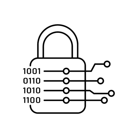 Cryptography icon. Outline illustration of cryptography vector icon for web and advertising Illustration
