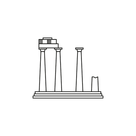 Old temple icon. Outline illustration of Old Athena temple vector icon for web and advertising