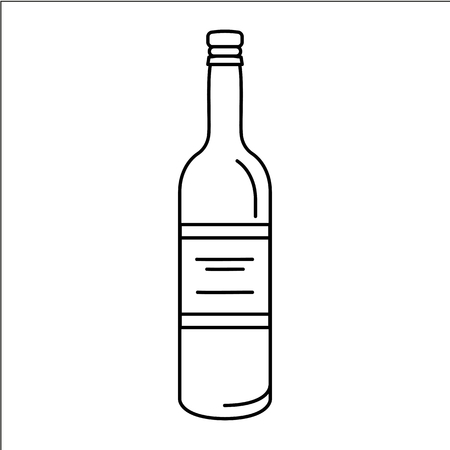 Wine bottle icon. Outline wine bottle vector icon for web design isolated on white background Illustration