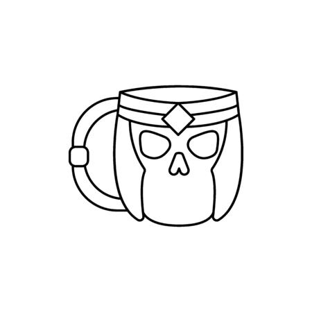 Skeleton mug icon. Outline skeleton mug vector icon for web design isolated on white background