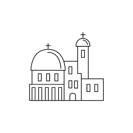 Church icon. Outline church vector icon for web design isolated on white background