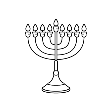 Menorah icon. Outline menorah vector icon for web design isolated on white background