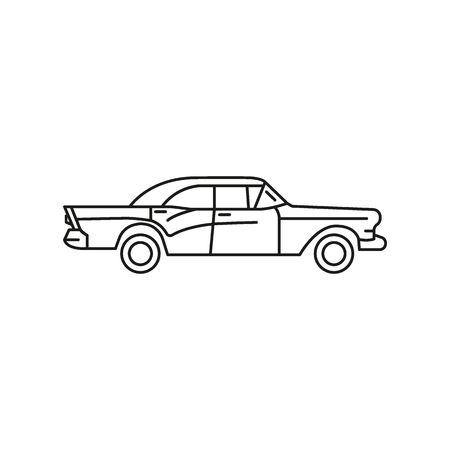 Old cuban car icon. Outline old cuban car vector icon for web design isolated on white background Çizim