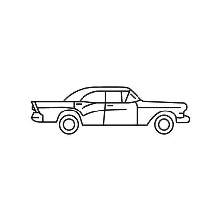 Viejo icono de coche cubano. Esquema antiguo coche cubano icono vectoriales para diseño web aislado sobre fondo blanco.