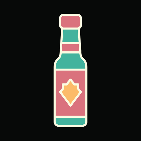 Vodka bottle icon. Cartoon Vodka bottle vector icon for web design isolated on black background 일러스트