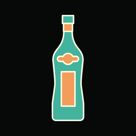 Martini bottle icon. Cartoon Martini bottle vector icon for web design isolated on black background