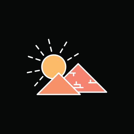 Egyptian pyramid icon in cartoon style. Illustration