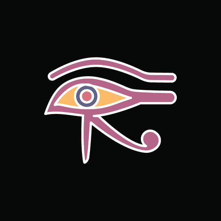 Egyptian eye icon in cartoon style. Egyptian eye object vector illustration isolated on black background. Element of Egyptian culture and tradition Ilustração