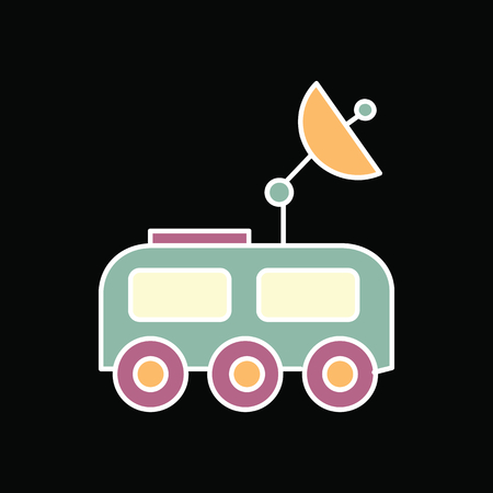 Mars rover icon. Cartoon Mars rover vector icon for web design isolated on black background