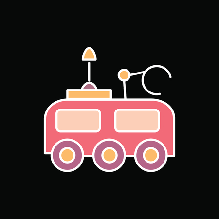Moon rover icon. Cartoon Moon rover vector icon for web design isolated on black background Illusztráció