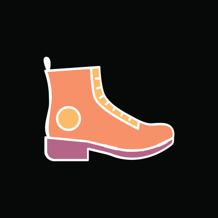 Boot icon. Cartoon Hiking Boot vector icon for web design isolated on black background Illustration
