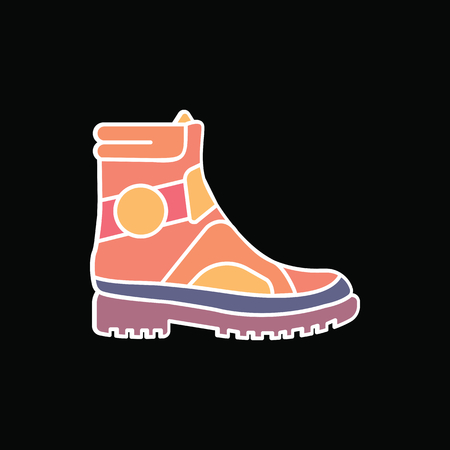 Boot icon. Cartoon military Boot vector icon for web design isolated on black background Vectores
