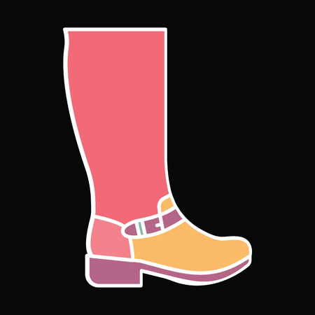 Hight boot icon. Cartoon Hight boot vector icon for web design isolated on black background