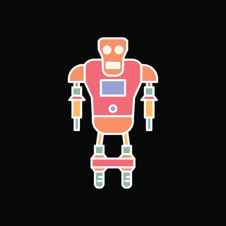 Robot icon. Cartoon cyborg Robot vector icon for web design isolated on black background Illustration