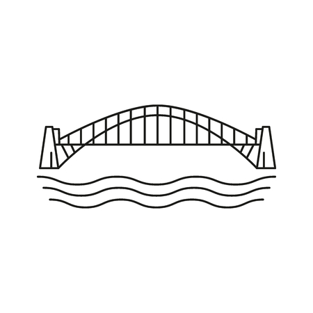 Outline of bridge vector icon for web design isolated on white background Иллюстрация
