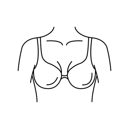 Breasts icon outline breasts vector icon for web design isolated on white background. Illustration