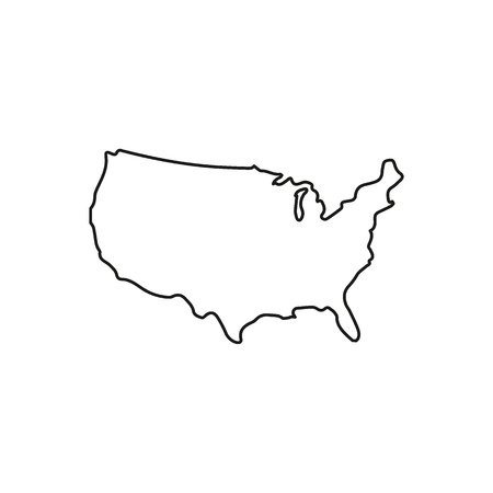 Usa map icon. Outline usa map vector icon for web design isolated on white background  イラスト・ベクター素材