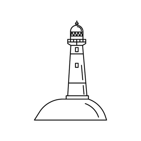 Lighthouse icon. Outline of a lighthouse vector icon for web design isolated on white background