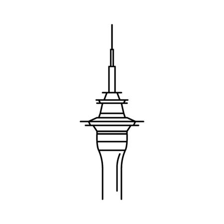 Ikona wieży. Zarys ikona wektora wieży do projektowania stron internetowych na białym tle