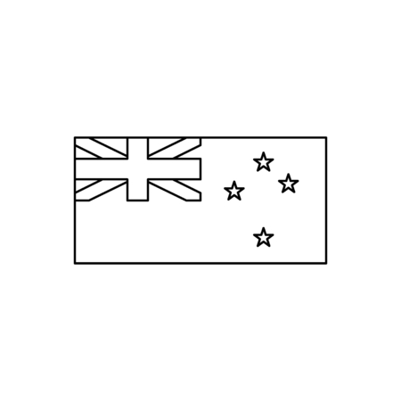 New Zealand flag icon. Outline New Zealand flag vector icon for web design isolated on white background Çizim