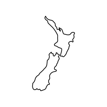 Icono de mapa de Nueva Zelanda. Esquema del icono de vector de mapa de Nueva Zelanda para diseño web aislado sobre fondo blanco