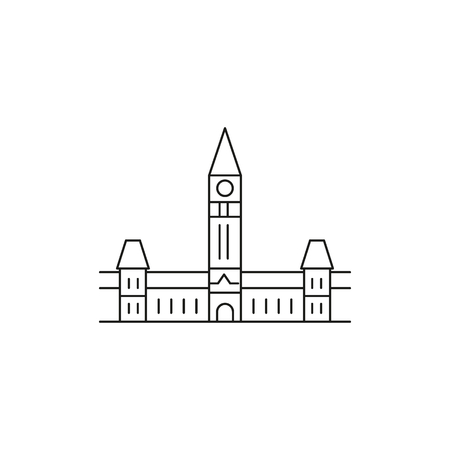 Parliament hill icon. Outline parliament hill vector icon for web design isolated on white background