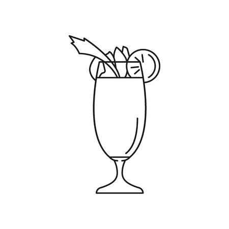 Cocktail glass icon. Outline cocktail glass vector icon for web design isolated on white background