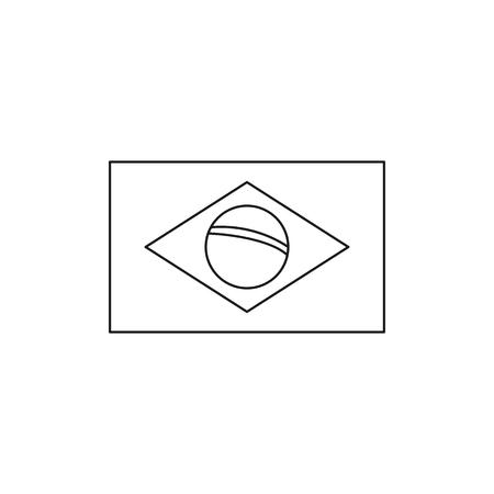 Brasil flag icon. Outline brasil flag vector icon for web design isolated on white background