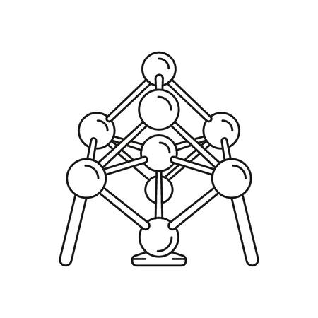 Atomium pictogram. Overzicht atomium vector pictogram voor webdesign geïsoleerd op een witte achtergrond Vector Illustratie