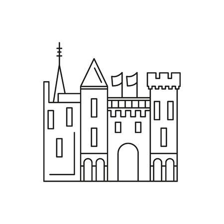 Castle Icon Outline Vector For Web Design Isolated On White Background Stock