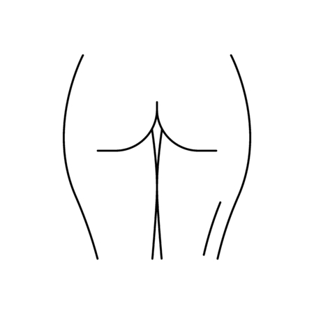 Human ass icon. Outline human ass vector icon for web design isolated on white background Ilustração