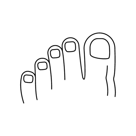 Foot fingers icon. Outline foot fingers vector icon for web design isolated on white background Illustration