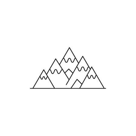 Mountains icon. Outline mountains vector icon for web design isolated on white background